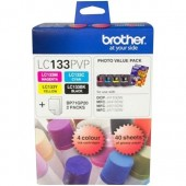 Brother LC133PVP Combo Pack with 40 Sheets of 6x4 Photo Paper