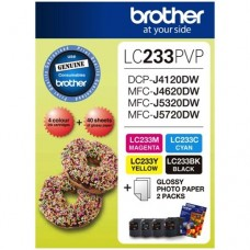 Brother LC233PVP Combo Pack with 40 Sheets of 6x4 Photo Paper