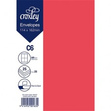ENVELOPE C6 RED 114X162MM PACK 25
