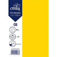 ENVELOPE C6 YELLOW 114X162MM PACK 25