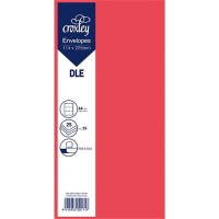 ENVELOPE DLE RED 114X225MM PACK 25